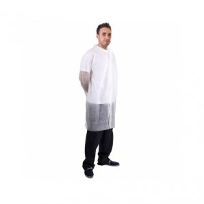 Disposable White Visitor Coats Velcro Fastening